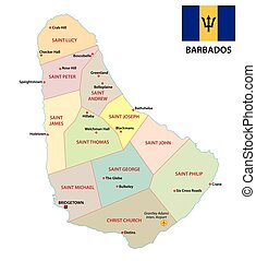 Barbados administrative and political map with flag -...