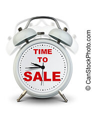 White ringing clock, time to sale concept - Ringing clock,...