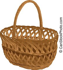 Empty wicker basket with handle. Isolated on white vector...