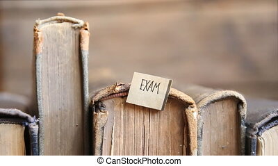 Exam idea, tag and retro books - Row of leather vintage...