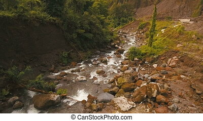 Mountain River in the rainforest.Camiguin island...