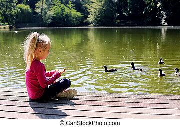 Cute little girl playing with ducks on sunny summer day