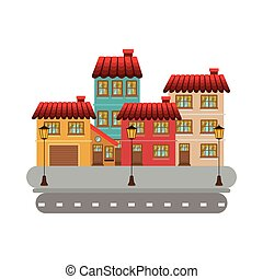 colorful facade buildings in street with lamppost vector...