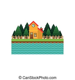 landscape forest background with house