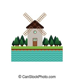 landscape forest background with windmill