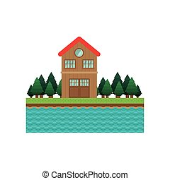 landscape forest background with house with two floors...