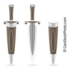 battle dagger medieval stock illustration isolated on white...