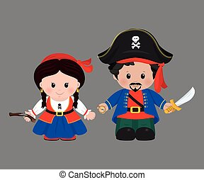 Pirates in cartoon style - Cartoon characters of Pirates,...