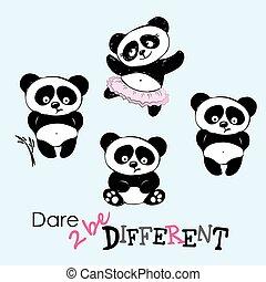 Be different, Cute Panda in various poses