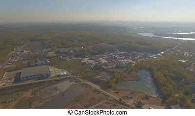 Aerial view of small provincial town in Russia - Drone...