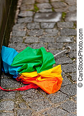 Colorful Umbrella - Colorful umbrella on a day with heavy...