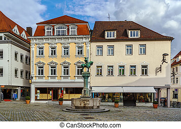 square in Esslingen am Neckar, Germany - Square with postman...
