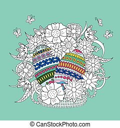 Colorful ornamental eggs and doodle flowers in the basket -...