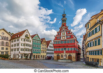 square in Esslingen am Neckar, Germany - Square with old...
