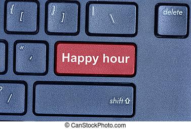 Feliz, computador, palavras, hora, teclado
