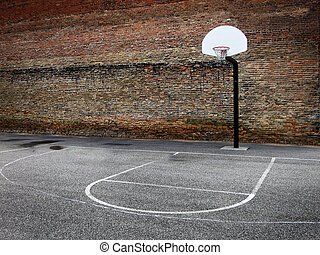 Basketball Hoop Urban Setting Downtown in the City -...