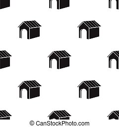 Doghouse vector icon in black style for web - Doghouse...