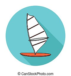 Windsurf board icon in flat style isolated on white...