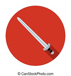 Viking sword icon in flat style isolated on white...