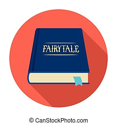 Book with fairytales icon in flat style isolated on white...
