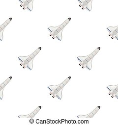 Space shuttle icon in cartoon style isolated on white background. Space pattern stock vector illustration.