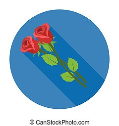 Two roses icon in flat style isolated on white background. Funeral ceremony symbol stock vector illustration.