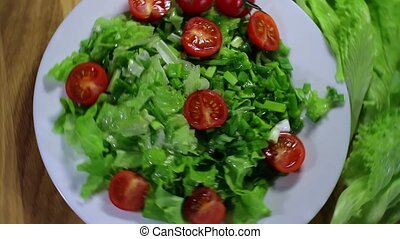 vegetable salad - organic vegetable salad dish with tomatoes