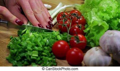 cutting onion - cutting fresh vegetables for salad