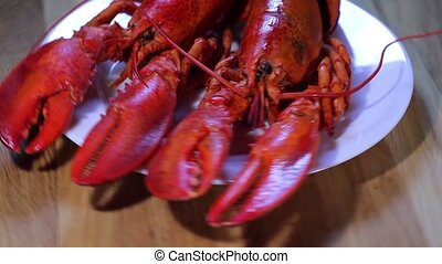 boiled lobsters - large boiled lobsters on plate