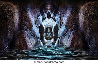abstratos, caverna, sagrado