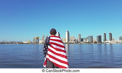 Video of man holding usa flag in real slow motion - High...