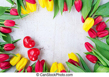 bouquet of yellow, purple and red tulips - fresh yellow and...