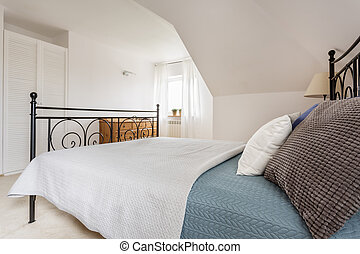 Marital bed with pillows and window - Bright bedroom...