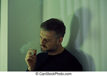 Addicted to drugs - Broken mature man addicted to drugs and...