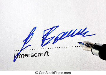 Fountain pen signature on a letter - Manual signature with...