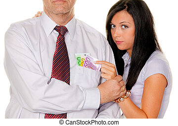 Woman pulls a man out of his pocket money ?