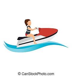 jet ski Extreme sport athlete avatar vector illustration...