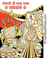 Happy Lohri background for Punjabi festival - illustration...