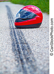 Motorcycle accident. Skid mark on road traffic accident. -...