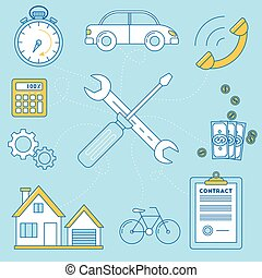 Wrench and screw driver illustration. Repair of house, car...