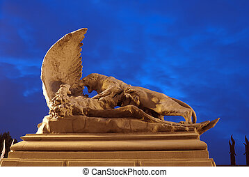 Lioness and eagle. Statue near House with Chimeras in Kiev....