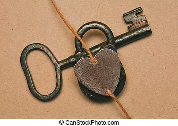 Love symbol. Key, lock and heart. Valentine's Day -...
