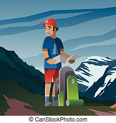 Man with map and backpack lost in the mountains.