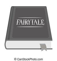 Book with fairytales icon in monochrome style isolated on...
