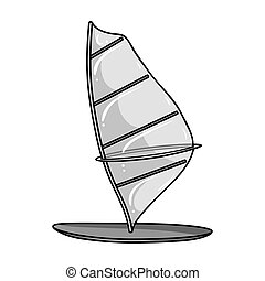 Windsurf board icon in monochrome style isolated on white...