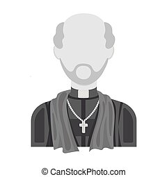 Priest icon in monochrome style isolated on white...
