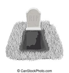Grave icon in monochrome style isolated on white background....