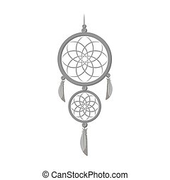 Dreamcatcher icon in monochrome style isolated on white background. Sleep and rest symbol stock vector illustration.