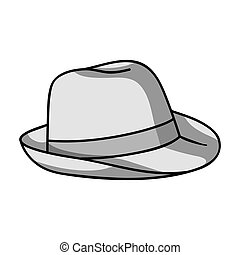 Panama hat icon in monochrome style isolated on white...
