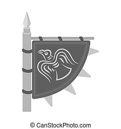 Viking s flag icon in monochrome style isolated on white...